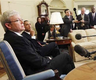 President Barack Obama meets with Australian Prime Minister Kevin Rudd in the Oval Office of the White House.
