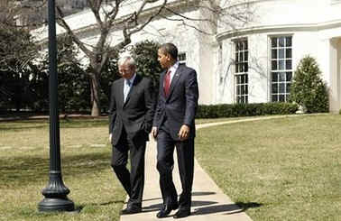 After meeting with the media President Obama walked Australian PM Rudd to his waiting limousine and returned to the Oval Office.