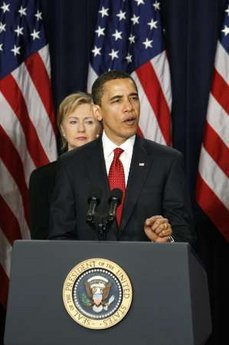 President Barack Obama announced his new strategy for Afghanistan and Pakistan at the Eisenhower Executive Office Building on the White Campus on March 27, 2009. Secretary of State Hillary Clinton and Secretary of Defense Robert Gates were among the military and  cabinet leaders present.
