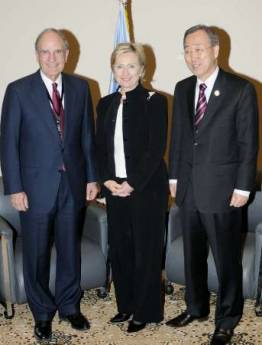 Clinton and Mitchell  with UN Secretary-General Ban Ki-moon. Secretary of State Hillary Clinton and US Special Envoy to the Middle East George Mitchell travel to the Egyptian Red Sea resort for the International Conference in Support of the Palestinian Economy for the Reconstruction of Gaza.