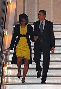 President Barack Obama and First Lady Michelle Obama arrive at Stansted Airport in Essex on Air Force One.