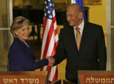 Secretary of State Hillary Clinton meets with Israeli PM Ehud Olmert in Jerusalem on March 3, 2009.