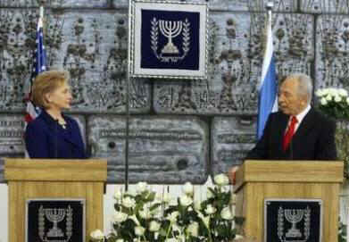 Secretary of State Hillary Clinton meets with Israeli President Shimo Peres in Jerusalem on March 3, 2009.