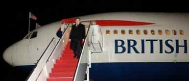 UK Prime Minister Gordon Brown arrives at Andrews Air Force Base on a snowy evening in Washington on March 2, 2009.