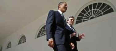 President Obama and PM Gordon Brown walk down the Colonnade to have a working lunch in the Old Family Dining Room.