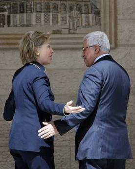 Secretary of State Hillary Clinton meets with Palestinian President Mahmoud Abbas in the West Bank town of Ramallah.