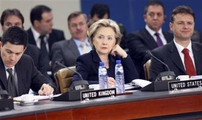 Secretary of State Hillary Clinton in Brussels for round table meetings with NATO foreign ministers.
