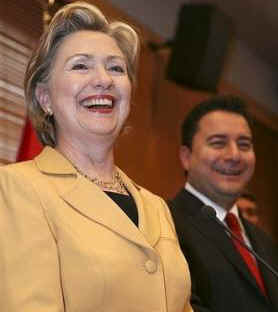 Secretary of State Hillary Clinton meets with the Turkish Foreign Minister in Ankara, Turkey on March 7, 2009.