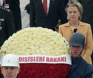 Secretary Clinton laid a wreath at the mausoleum of Ataturk, modern Turkey's founder.