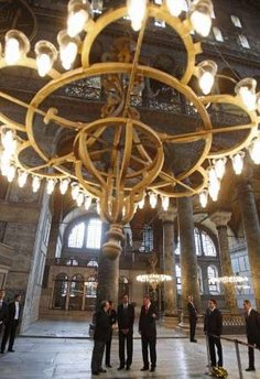 President Barack Obama and Turkish PM Recep Tayyip Erdogan tour the Hagia Sophia in Istanbul, Turkey on April 7, 2009.