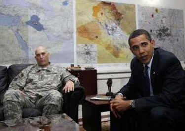 President Barack Obama meets with General Ray Odierno and National Security Advisor James Jones at Camp Victory.