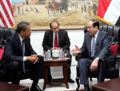 President Barack Obama meets with Iraq's Prime Minister Niri al-Maliki in Baghdad, Iraq.