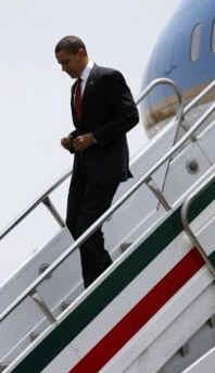 President Barack Obama in Air Force One lands at Benito Juarez International Airport in Mexico City on April 16, 2009.