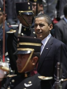 President Barack Obama joins Mexican President Felipe Calderon for a Welcoming Ceremony with an honor guard inspection.