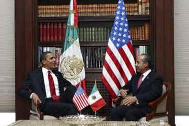 President Barack Obama meets with Mexico's President Felipe Calderon at Los Pinos the official residence of the Mexican President.