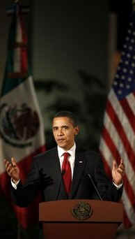 President Barack Obama attends a dinner in his honor at the Anthropology National Museum in Mexico City.