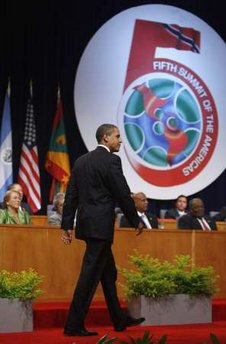 President Barack Obama speaks at the opening of the 5th Summit of the Americas in Port of Spain, Trinidad and Tobago.