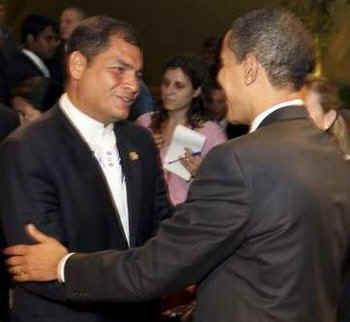 President Obama talks to Ecuador's President Rafael Correa.