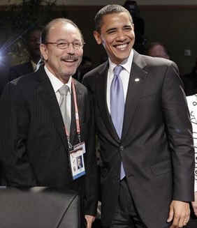 President Obama poses with salsa music icon Ruben Blades.