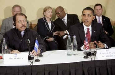 President Obama, with Secretary of State Hillary Clinton sitting behind him, sat next to Nicaragua's President Daniel Ortega.