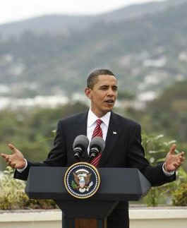 President Obama speaks at a news conference on the rooftop of his hotel in Port of Spain, Trinidad and Tobago on April 19, 2009.