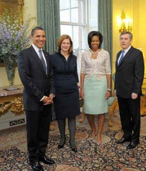 President Barack Obama and First Lady Michelle Obama with UK PM Gordon Brown and his wife Sarah.