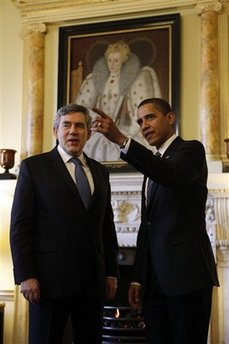 President Barack Obama with UK PM Gordon Brown inside 10 Downing Street.