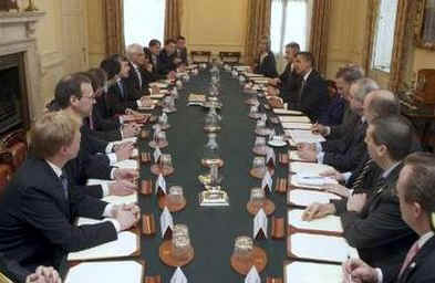 Key US and UK foreign officials meet in the Cabinet Room of the PM's official residence.