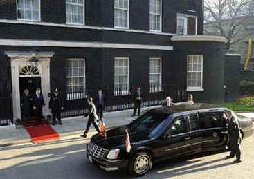 "President's special limousine known as ""The Beast"" drove Obama to 10 Downing Street, the residence of the UK Prime Minister."