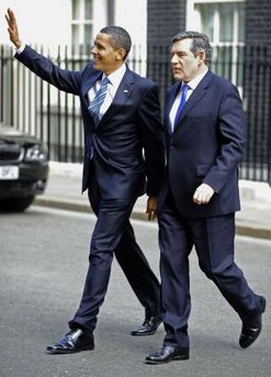 President Barack Obama and PM Gordon Brown leave 10 Downing Street after joint meeting and walk to the Foreign and Commonwealth Office building to hold a joint news conference.