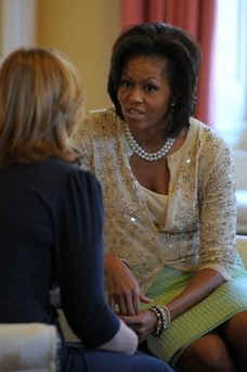 First Lady Michelle Obama met with Sarah Brown in the residence.