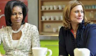 First Lady Michelle Obama and Sarah Brown visit Maggie's Cancer Caring Center in West London. Obama and Brown took a tea break and met with care center workers.
