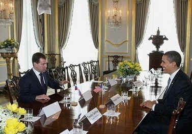US President Barack Obama meets with Russian President Dmitry Medvedev at Winfield House in London.