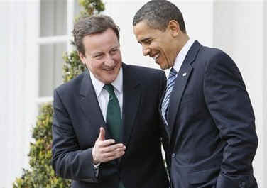 President Barack Obama meets with Conservative Party Leader David Cameron at Winfield House in London.