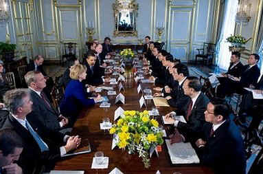 President Barack Obama, Secretary of State Hillary Clinton, Treasury Secretary Tim Geithner and other key US senior officials meet with China's President Hu Jintao and Chinese officials at Winfield House in London.