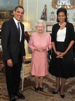 President Barack Obama and First Lady Michelle Obama visit Queen Elizabeth II and Prince Phillip the Duke of Edinburgh at Buckingham Palace in London.