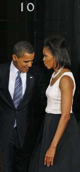 President Barack Obama and First Lady Michelle Obama arrive at 10 Downing Street where their day started earlier.