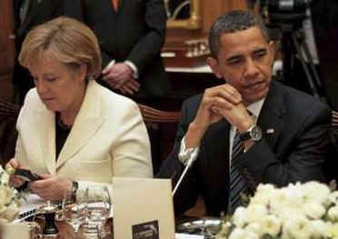 President Obama was seated for dinner next to German Chancellor Angela Merkel and South Korean President Lee Myung-bak.