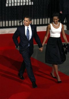 President Barack Obama and First Lady Michelle Obama leave 10 Downing Street where their day first started.