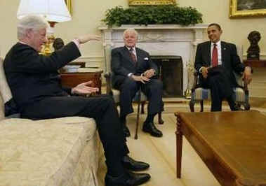 President Barack Obama meets with former President Bill Clinton, Senator Edward M. Kennedy, and Vice President Joe Biden in the Oval Office of the White House.