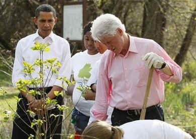 President Barack Obama and former President Bill Clinton plant trees with volunteers.