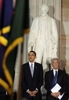 President Obama was joined in the ceremony by Nobel laureate Elie Wiesel. President Barack Obama attends the Holocaust Days of Remembrance in the Rotunda of the Capitol.