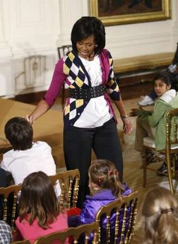 First Lady Michelle Obama speaks to the children of White House staffers at the Take Your Kids To Work Day in the East Room of the White House on April 23, 2009.