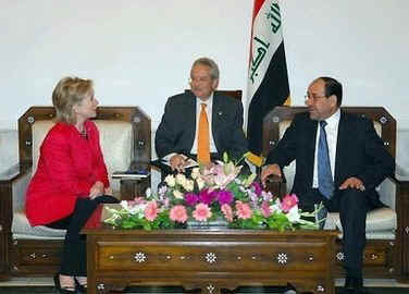 Secretary Clinton meets with Iraqi PM Nuri al-Maliki.