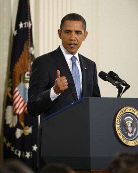 President Barack Obama speaks at a prime time press conference on the 100th day anniversary of his presidency on April 29, 2009.