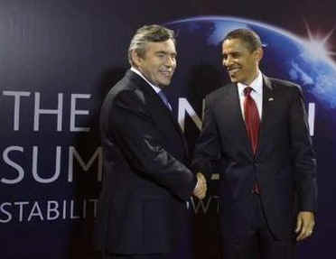 President Barack Obama arrives at the Excel Centre in London and is greeted by the UK PM Gordon Brown the host of the 009 London G20 Summit on April 2, 2009.