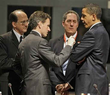 President Barack Obama and US Treasury Secretary Tim Geithner meet G20 attendees beforet the Plenary session of the G20 Summit at the Excel Centre.