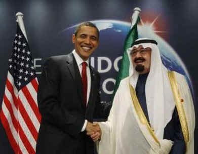 President Barack Obama meets with Saudi Arabia's King Abdullah at the Excel Centre in London on April 2, 2009.