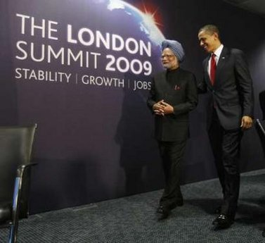 President Barack Obama meets with India's Prime Minister Manmohan Singh at the G20 Summit in the Excel Centre in London.