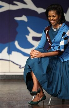 First Lady Michelle Obama visits students at the Elizabeth Garrett Anderson Language School in London on April 2, 2009.